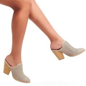 Dolce vita 6.5 Kenli Perforated Heeled Mules Taupe